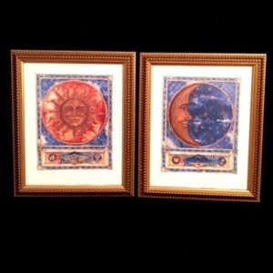 "2 vintage Lithograph ""The Sun"" and ""The Moon"""